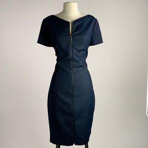 Navy body con short sleeve mid length dress